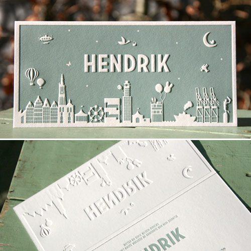 letterpers_letterpress_geboortekaartje_Hendrik_Antwerpen_skyline_silhouette_stoer_relief_preeg_ue