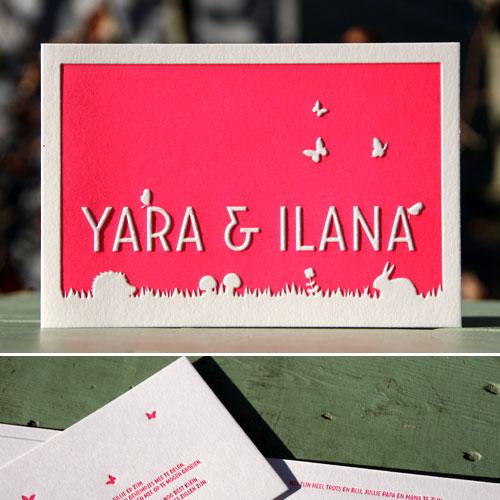 letterpers_letterpress_geboortekaartje_Yara_Ilana_preeg_tweeling_relief_lente_bijzonder_ue
