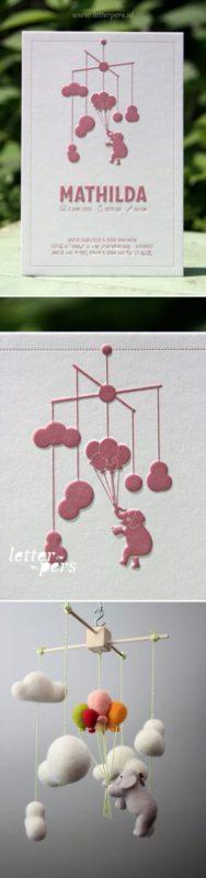 Letterpers_letterpress_geboortekaartje_Mathilde_olifant_mobile_wolken_ballonnen_ballon_meisje_oudroze