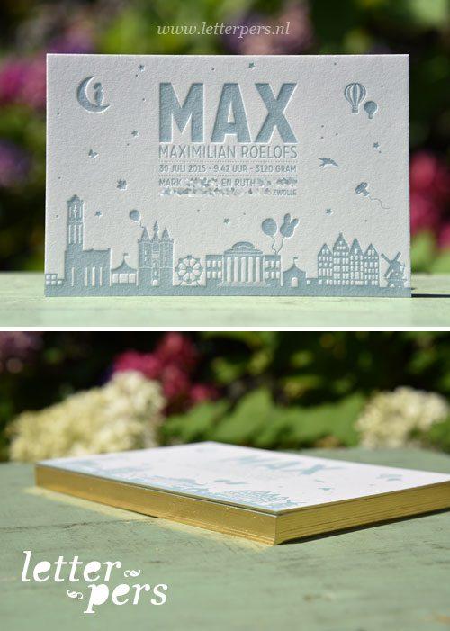 Letterpers_letterpress_geboortekaartje_Max_skyline_zwolle_rotterdam_amsterdam_lief_jongen_stoer_folie_goud_zijkant_snede