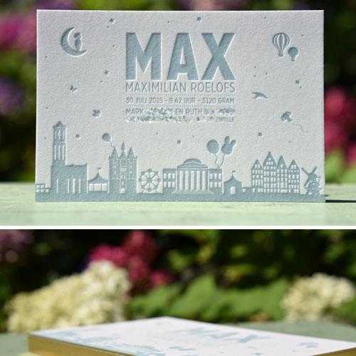 Letterpers_letterpress_geboortekaartje_Max_skyline_zwolle_rotterdam_amsterdam_lief_jongen_stoer_folie_goud_zijkant_snede_ue