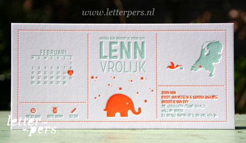 Letterpers_Letterpress_geboortekaartje_birthannouncement_Lenn_elephant_olifant_kaart_map_kalender_iconen_symbolen