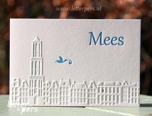 Letterpers_Letterpress_geboortekaartje_birthannouncement_Mees_Utrecht_ooievaar_Dom_huisjes_skyline_relief