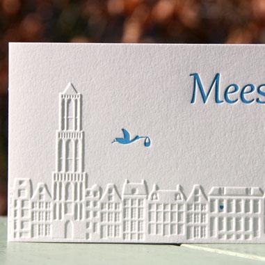 Letterpers_Letterpress_geboortekaartje_birthannouncement_Mees_Utrecht_ooievaar_Dom_huisjes_skyline_relief_ue