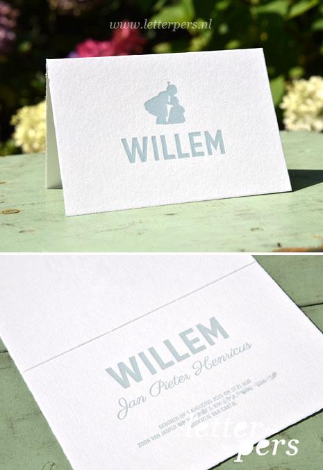 Letterpress_letterpers_geboortekaartje_Willem_zus_silhouette_lief_eigen_stoer_oud_hollands