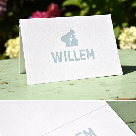 Geboortekaartje Willem met silhouet zusje