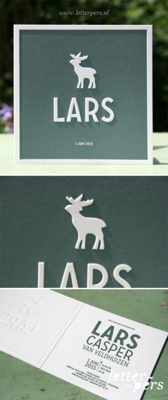 Letterpers_letterpress_geboortekaartje_Lars_groen-blauw_eland_preeg_vierkant