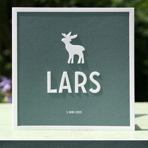 Letterpers_letterpress_geboortekaartje_Lars_groen-blauw_eland_preeg_vierkant_ue
