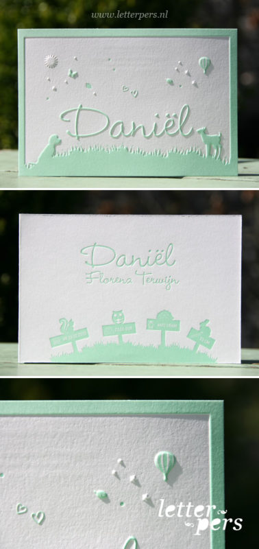 Letterpers_letterpress_geboortekaartje_Daniel_mint_groen_lente_gras_buiten_spelen_lief_diertjes_honden_hertjes