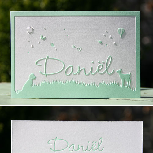 Letterpers_letterpress_geboortekaartje_Daniel_mint_groen_lente_gras_buiten_spelen_lief_diertjes_honden_hertjes_ue