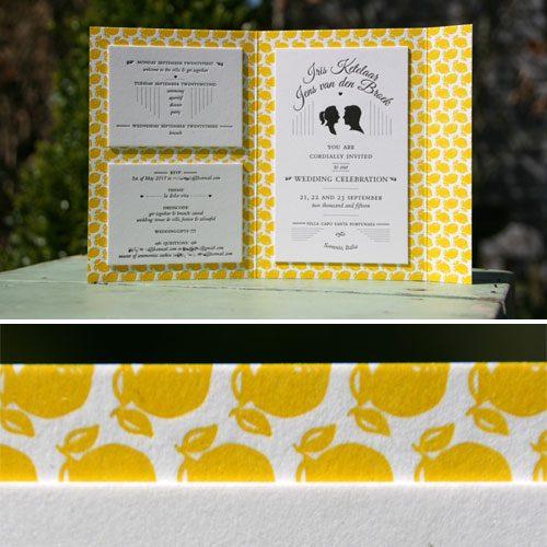 Letterpers_letterpress_trouwkaart_Iris_en_Jens_Italie_geel_citroentjes_silhouetten_lief_enveloppe_weekend__ue