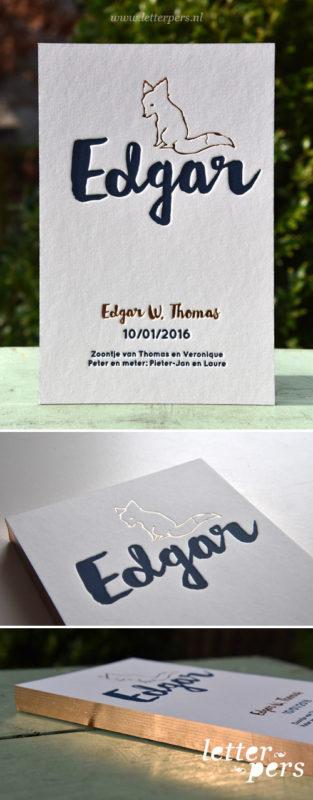 Letterpers_letterpress_geboortekaartje_Edgar_vos_koperfolie_donkerblauw_dik-karton