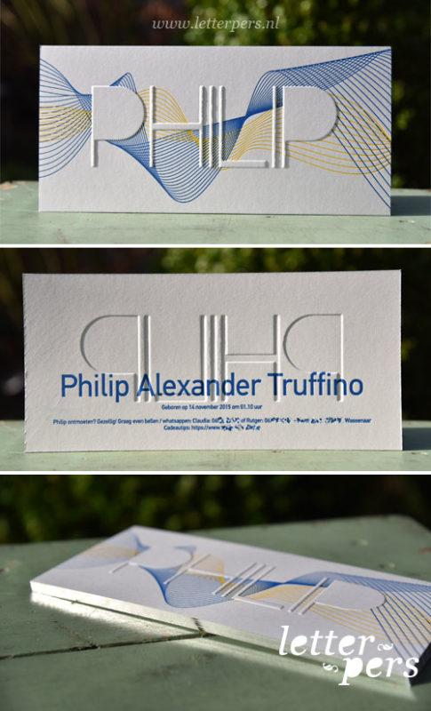 Letterpers_letterpress_geboortekaartje_Philip_blauw_geel_geometrisch_preeg