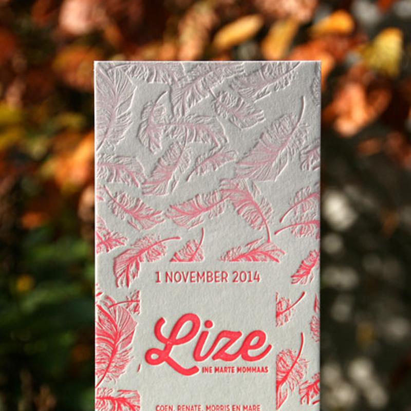 Letterpers letterpress veer irisdruk roze lize