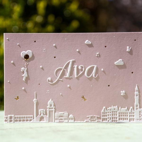 Letterpers-letterpress-geboortekaartje-Ava-Iran-Irak-Nederland-skyline-stoer-koperfolie-glimmend_glossy-2-0579-ue