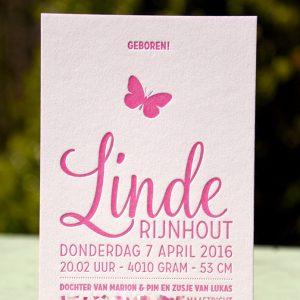 Letterpers letterpress geboortekaartje Linde vlinder 2-0517_ue