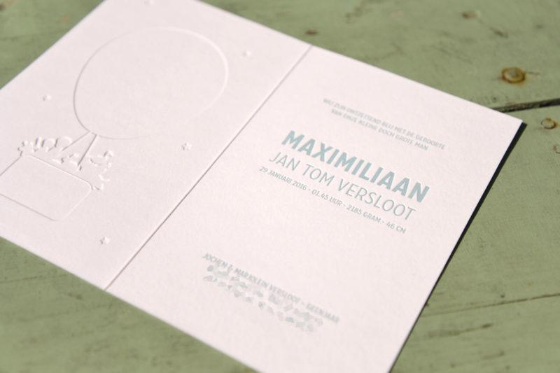 Letterpers_letterpress_geboortekaartje_Maximiliaan_luchtballon_broertjes_stoer-2-9706
