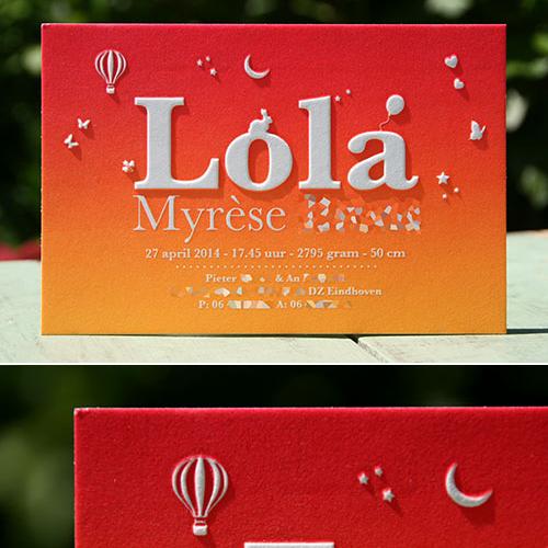 letterpers letterpress geboortekaartje lola irisdruk preeg stoer luchtballon