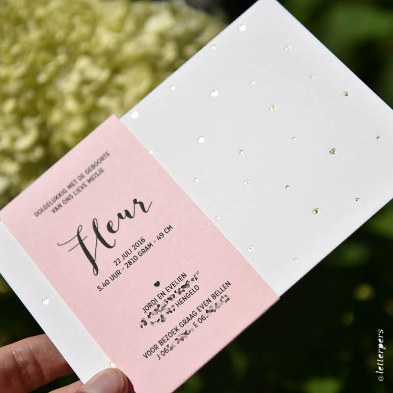 geboortekaart met wikkel voor Fleur