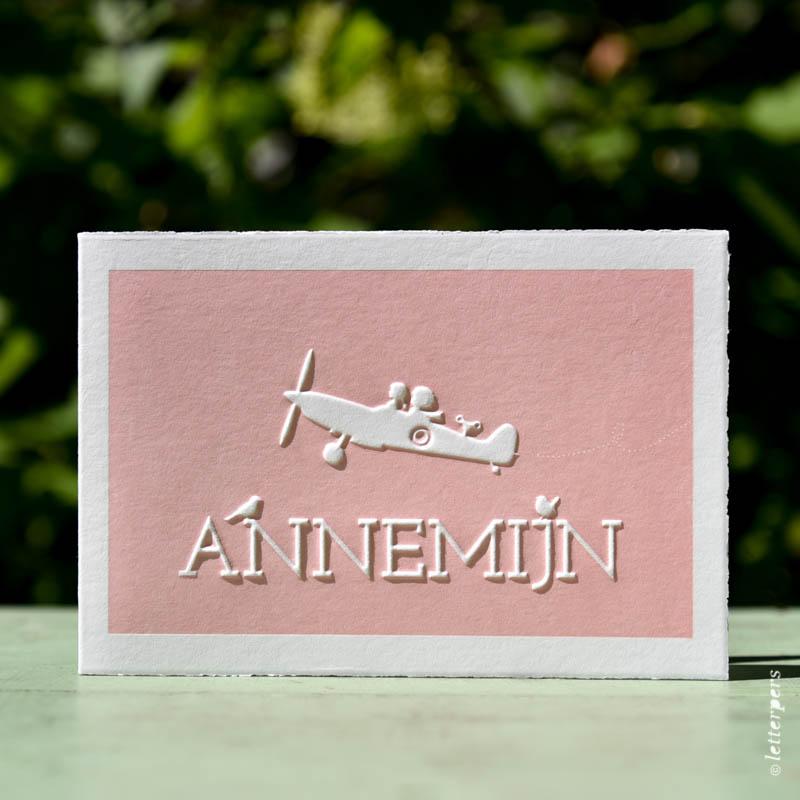 Letterpers letterpress Annemijn vliegtuig broer