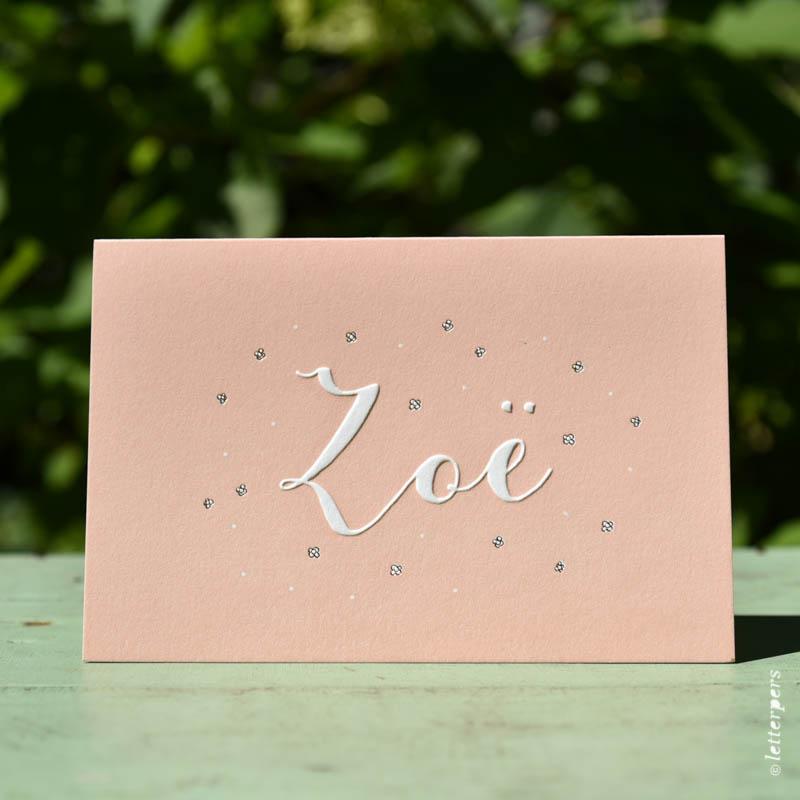 Letterpers-Letterpers-geboortekaart-DSC_3796_Zoe_bloemen_brons_koper