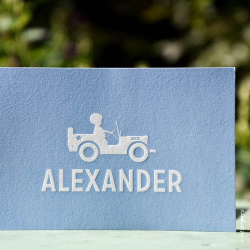 Letterpress embossing blue