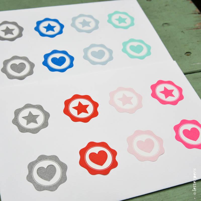 Letterpers sluitzegels, 20 stuks per vel
