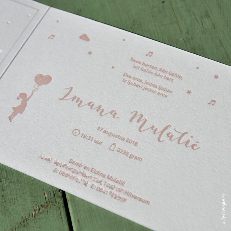 letterpers, letterpress, geboortekaartje, handgeschreven, lettertype