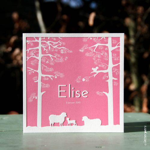 Letterpers geboortekaart voor Elise met schaapjes