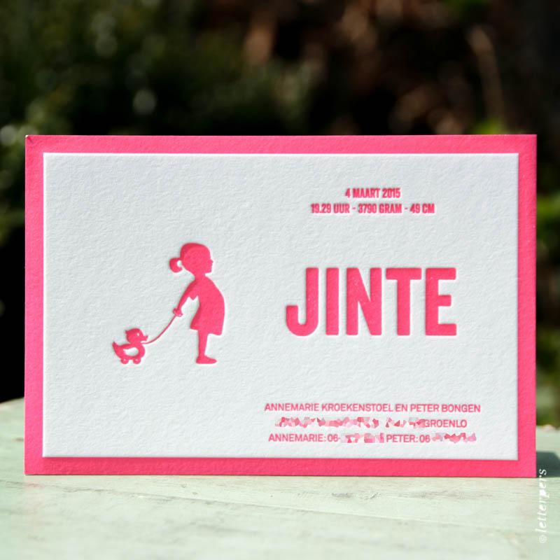 Letterpers Classic geboortekaart voor Jinte