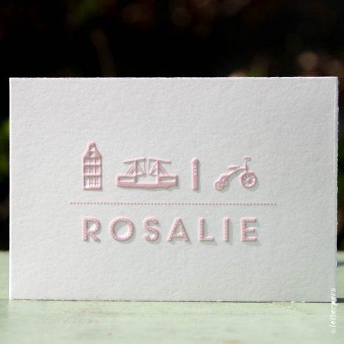 Letterpers geboortekaart voor Rosalie op Oud Hollands papier
