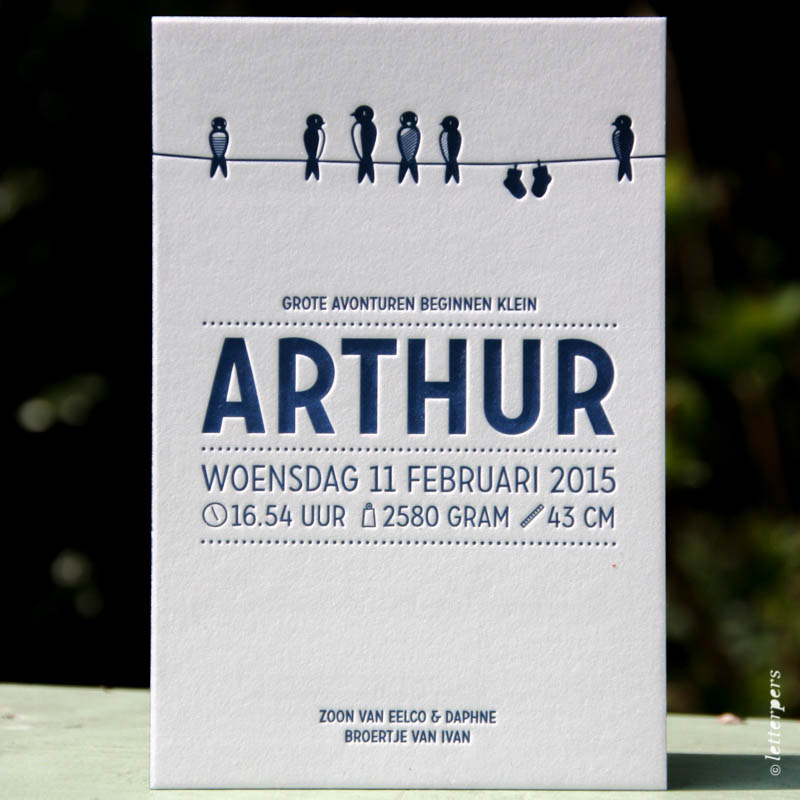 Letterpers geboortekaartje Arthur met vogels op waslijn