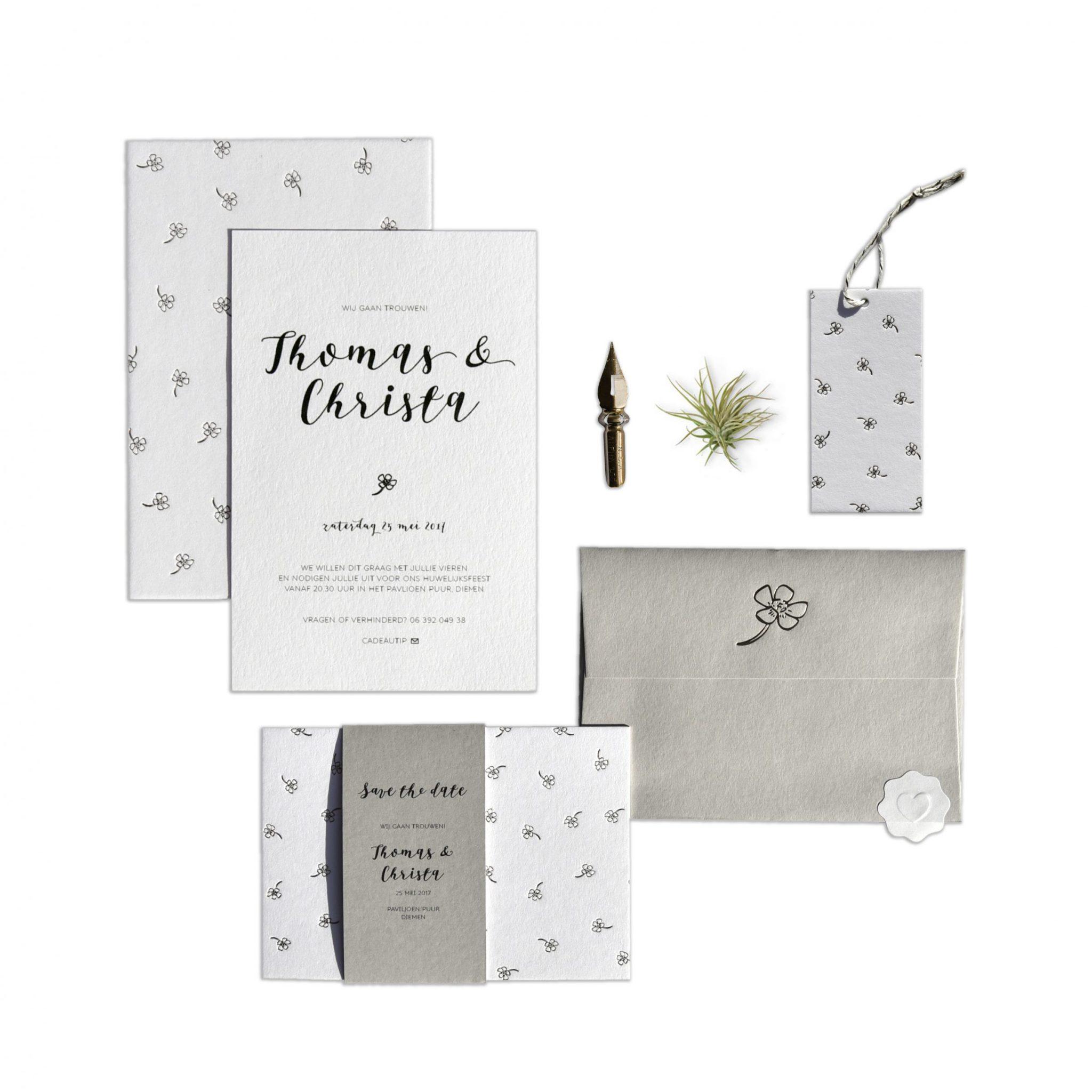 thomas_christa letterpers letterpress wedding invitation wedding trouwkaart
