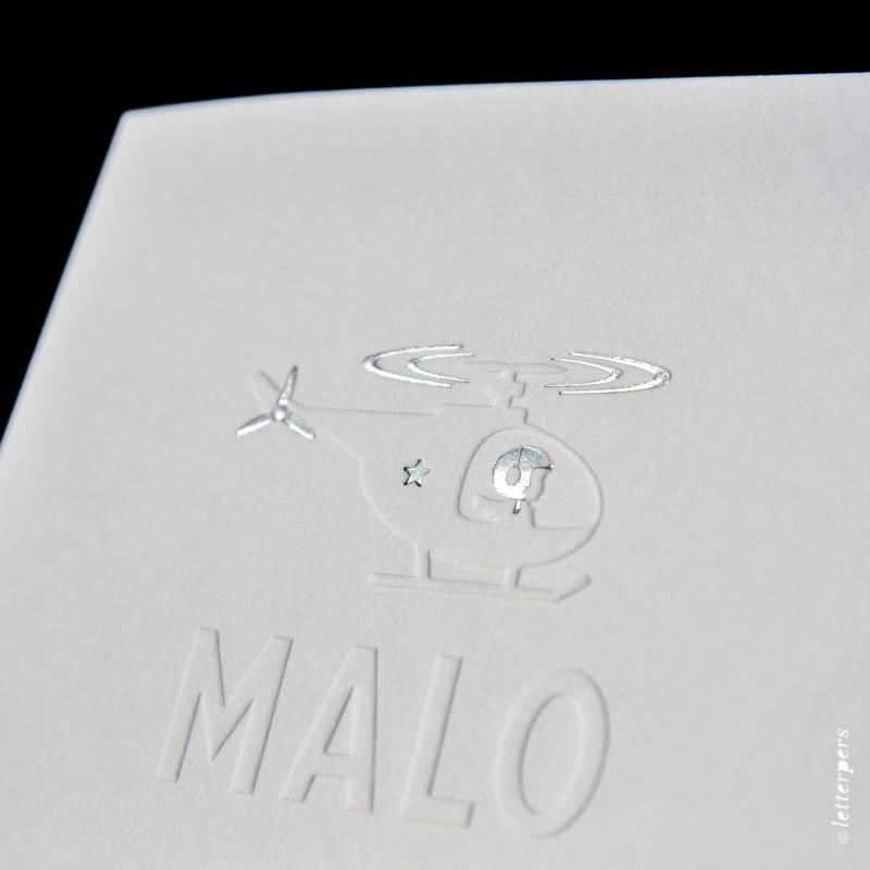letterpers letterpress geboortekaartje helicopter folie