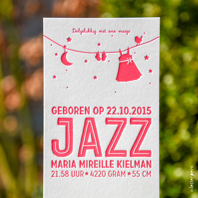 fluor roze letterpress pink jazz