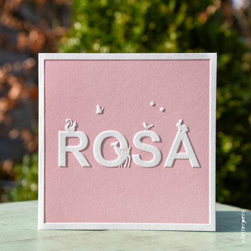 geboortekaartje rosa met preeg letterpress rosa roze