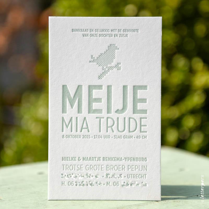 Geboortekaartje Meije letterpress - Letterpers.nl