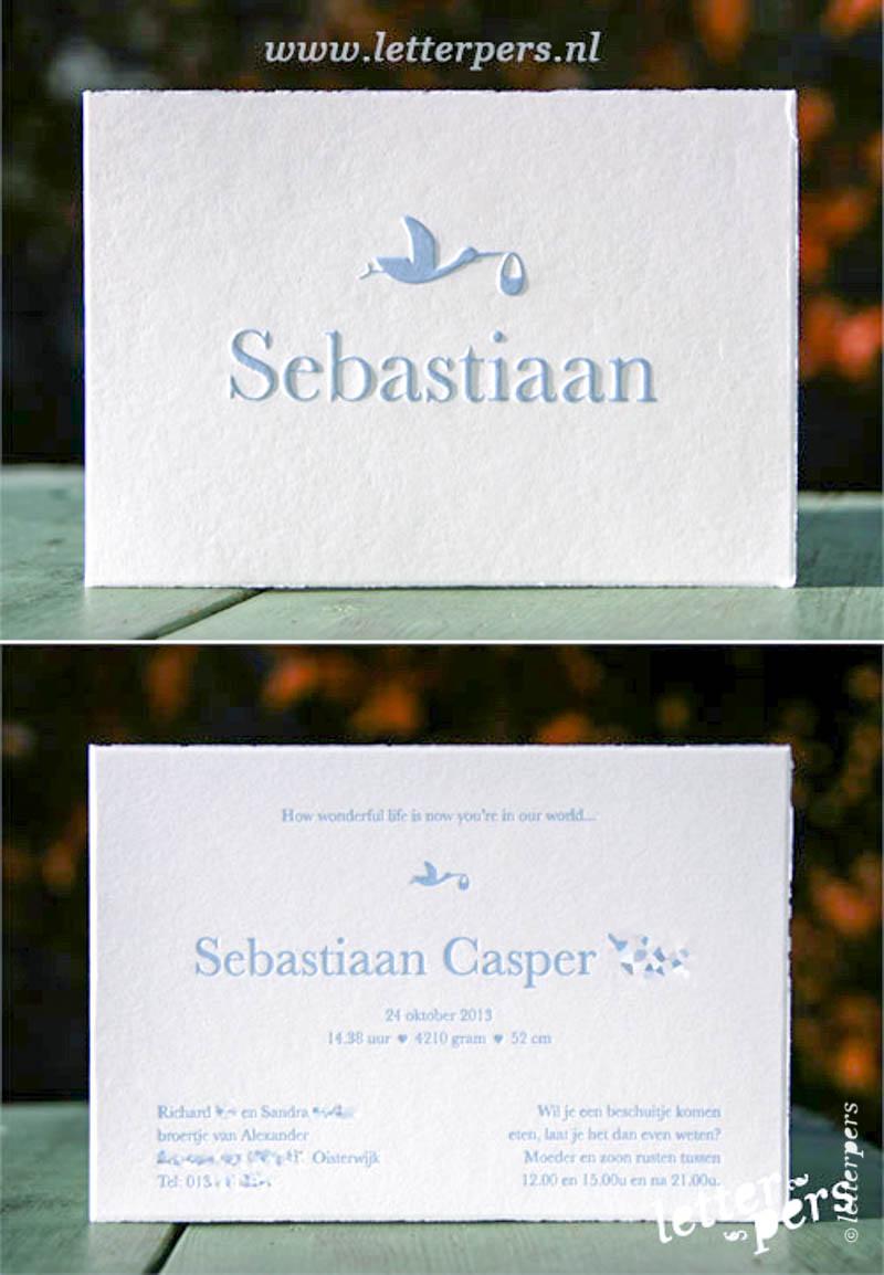 Letterpress letterpers ooievaar