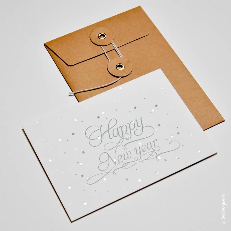 Letterpers Happy new year Letterpress japanse sluiting envelop