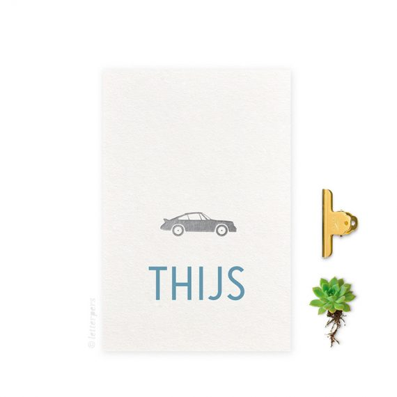 Geboortekaartje_folie_jongen_auto_letterpers_letterpress