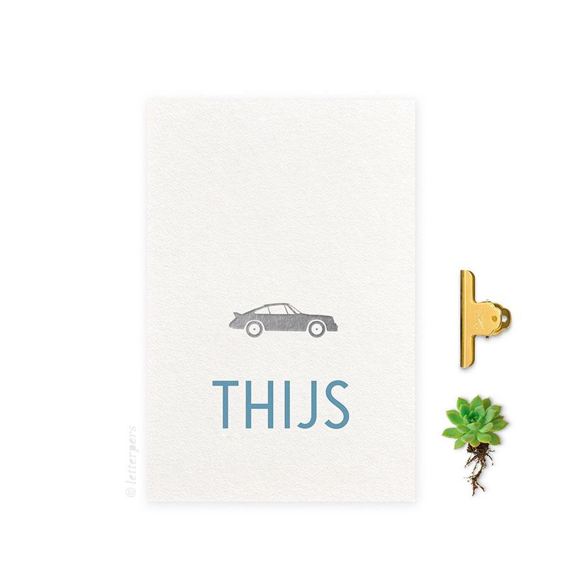 Geboortekaartje folie jongen auto letterpers letterpress