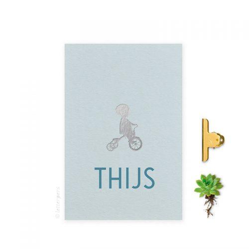 Geboortekaartje folie jongen blauw fiets letterpers letterpress