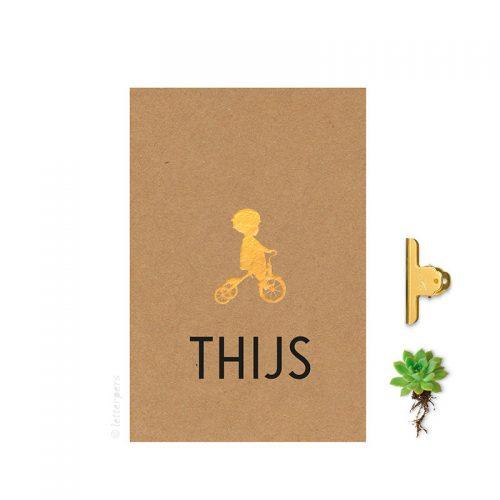 Geboortekaartje folie jongen bruinkarton kraft letterpers letterpress