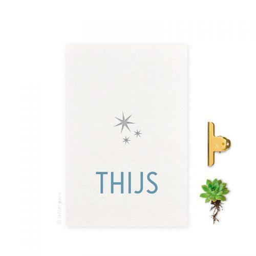 Geboortekaartje folie jongen drie sterren letterpers letterpress