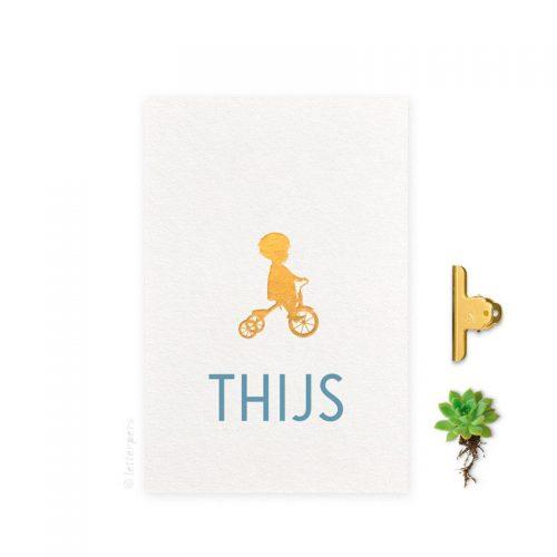 Geboortekaartje folie jongen fiets letterpers letterpress