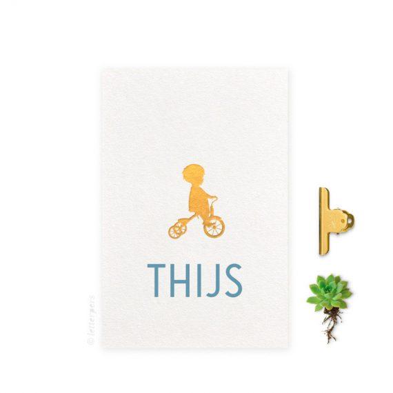 Geboortekaartje_folie_jongen_fiets_letterpers_letterpress