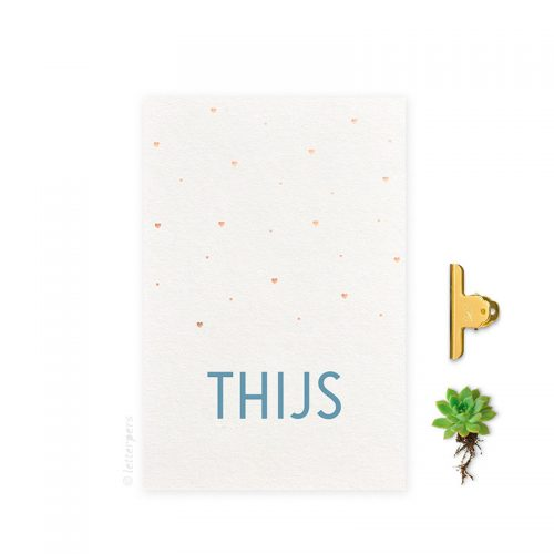 Geboortekaartje folie jongen hartjes koper letterpers letterpress