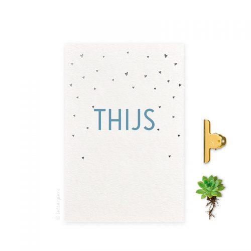 Geboortekaartje_folie jongen hartjes top letterpers letterpress