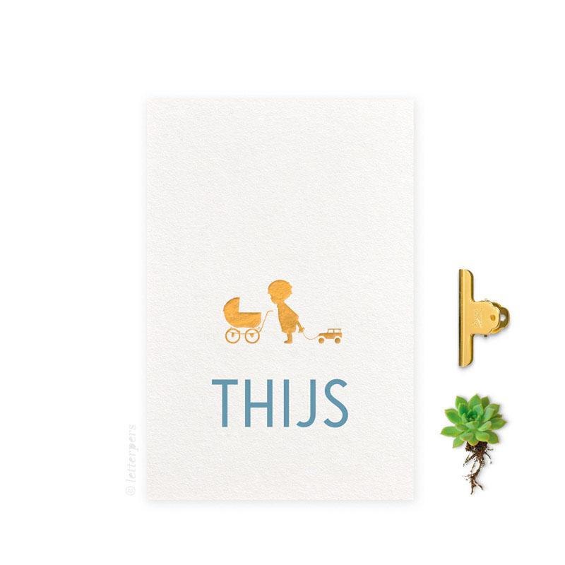 Geboortekaartje folie jongen kinderwagen letterpers letterpress