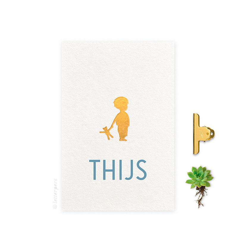 Geboortekaartje folie jongen knuffel beer letterpers letterpress